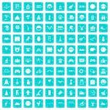 100 lustige Ikonen stellten Schmutz blau ein Stockfotografie