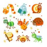 Lustige Insekten und Wanzen der Karikatur eingestellt Bunte Sammlung nette Insekt Illustrationen stock abbildung