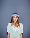 Lustige junge Frau mit einem Blick der Überraschung Lizenzfreie Stockbilder