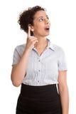 Lustige junge Geschäftsfrau - lokalisiert im Rock und in der Bluse mit i Stockbild