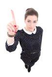 Lustige junge schöne Geschäftsfrau im schwarzen Kleid, das Idee zeigt Lizenzfreies Stockbild