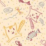 Lustige Kätzchen und Fische des nahtlosen Musters des Vektors Lizenzfreies Stockbild