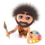 lustige Karikatur 3d stoneage Höhlenbewohner-Charaktermalerei mit einem Malerpinsel und einer Palette Stockfotos