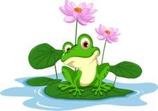 lustige Karikatur des grünen Frosches, die auf einem Blatt sitzt Lizenzfreie Stockfotografie
