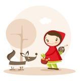 Lustige Karikatur des Rotkäppchens Stockbild