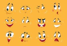 Lustige Karikatur-Gesichter Verärgerte Charakterausdruckaugen kritzeln sonderbares komisches der verrückten Mundspaß-Skizze Karik stock abbildung