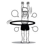 Lustige Karikatur Jungenspiel hoola Bands Lizenzfreies Stockbild