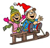 Lustige Karikatur, Kinder, Pferdeschlitten, Illustration, Chritmas-Thema, Schnee Lizenzfreies Stockbild