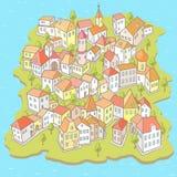 Lustige Karikatur-Stadt auf der kleinen Insel Stockfoto