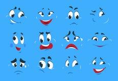 Lustige Karikaturausdrücke Verrückter Charakter der schlechten verärgerten Gesichter skizziert Karikatur-smileygesicht des Spaßlä lizenzfreie abbildung