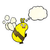 lustige Karikaturbiene mit Gedankenblase Lizenzfreie Stockfotografie