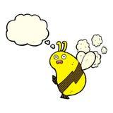 lustige Karikaturbiene mit Gedankenblase Stockbilder