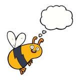 lustige Karikaturbiene mit Gedankenblase Stockbild