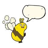 lustige Karikaturbiene mit Spracheblase Lizenzfreies Stockbild
