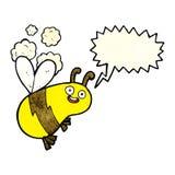 lustige Karikaturbiene mit Spracheblase Lizenzfreie Stockfotos