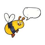 lustige Karikaturbiene mit Spracheblase Stockbild