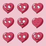 Lustige Karikaturherz-Charaktergefühle Satz, St.-Valentinsgruß-Vektorikonen, lokalisiert lizenzfreie abbildung
