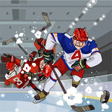 Lustige Karikaturhockeyspieler spielen Hockey auf dem Eis Lizenzfreies Stockbild