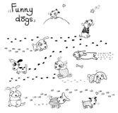Lustige Karikaturhunde im Schnee Stockfotografie