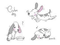 Lustige Karikaturhunde mit einem Knochen Stockfotografie