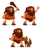 Lustige Karikaturillustration eines Höhlenbewohners Lizenzfreies Stockfoto