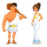 Lustige Karikaturillustration von der griechischen Geschichte Stockbilder