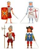 Lustige Karikaturillustrationen vom alten und mittelalterlichen Alter Lizenzfreies Stockfoto
