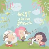 Lustige Karikaturmädchen mit netten Rotwild Beste Freunde stock abbildung