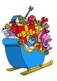 Lustige Karikaturpferdeschlittenillustration mit Weihnachtsmotiv Lizenzfreie Stockfotos