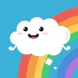 Lustige Karikaturwolke, die über den Regenbogen fliegt Stockbilder