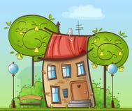 Lustige Karikaturzeichnung - Haus im Hof mit Bäumen, Straßenlaternen und Bänke Stockfotografie