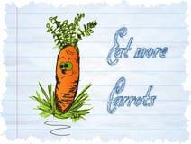Lustige Karottekarikatur auf blauem Hintergrund Stockfoto