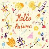 Lustige Karte des Herbstes mit Blumenmuster und Vögeln Lizenzfreie Stockbilder