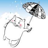 Lustige Katze auf dem Regenschirm Reihe komische Katzen Stockbild