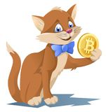 Lustige Katze in einer Fliege, die bitcoin Symbol hält Stockbilder