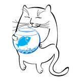 Lustige Katze mit Aquarium Reihe komische Katzen Stockfotos