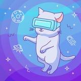 Lustige Katze mit VR-Sturzhelm in einem Weltraum der virtuellen Realität lizenzfreie abbildung