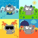 Lustige Katze in vier Jahreszeiten eingestellt Lizenzfreies Stockbild