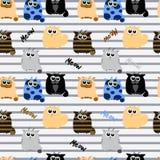Lustige Katzen auf gestreiftem Hintergrund Stockfotos