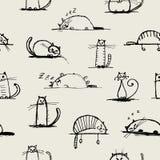 Lustige Katzenskizze, nahtloses Muster für Ihr stock abbildung