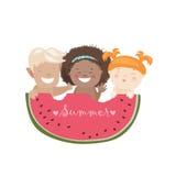 Lustige Kinder, die Wassermelone essen stock abbildung