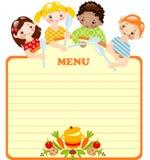 Lustige Kinder mit spoons.menu. Stockfotografie