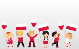 Lustige Kinder von verschiedenen Rennen mit verschiedenen Frisuren mit Flaggen Grafikdesign zu den Polen-Feiertagen vektor abbildung