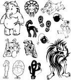 Lustige Kinderkarikaturen eingestellt Stockfotografie
