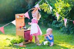Lustige Kleinkinder, die mit Spielzeugküche im Garten spielen Lizenzfreies Stockfoto