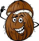 Lustige Kokosnussfrucht-Karikaturillustration Lizenzfreies Stockbild
