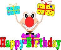 Lustige komische Figur mit Geschenken für eine Glückwunschkarte Lizenzfreies Stockfoto