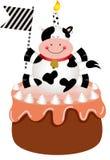 Lustige Kuh auf Geburtstagskuchen lizenzfreie abbildung
