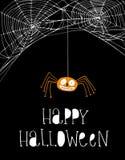 Lustige lächelnde orange Spinne Einfache weiße Spinnen-Netz-Vektor-Illustration stock abbildung