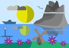 Lustige Landschaft mit Bergen Stockbilder